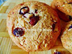 Υγειινά και πεντανόστιμα μπισκότα βουτύρου με κράνμπερι και λευκή σοκολάτα για κολατσιό από την Σόφη Τσιώπου! Cranberries, Chocolate Cake, Biscuits, Muffin, Food And Drink, Cupcakes, Bread, Cookies, Breakfast