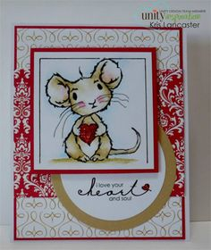 Alfie - heart & soul mouse - Unity Stamp Co Stamped Christmas Cards, Holiday Cards, Christmas Candy, Pinterest Cards, Valentine Love Cards, Easy Arts And Crafts, Unity Stamps, Ppr, Animal Cards