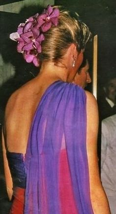 February 4, 1988: Princess Diana at dinner with the King of Thailand in Bangkok during an official visit to the country.
