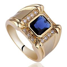 Men 4-Claw Design Base Yellow Gold Finish Sterling Silver Ring With Oblong Cubic Zirconia
