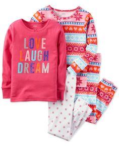 Carter's 4-Pc. Love, Laugh, Dream Fair Isle Pajama Set, Little Girls (2-6X) & Big Girls (7-16)