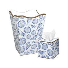 Seashell Wastebasket and Tissue Box