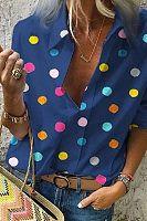 Buy Summer Blouse Women Tops Casual Long Sleeved Loose Dot Print Deep V Neck Shirt Bluzki Damskie Blusas Mujer De Moda 2019 - blue - and Find more Women's Blouses & Shirts enjoy up to off. Casual Tops For Women, Blouses For Women, Harajuku, Summer Blouses, Chiffon Shirt, Chiffon Blouses, Aliexpress, Collar Shirts, White Long Sleeve