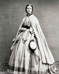 8 by 10 Photo Print Woman Lovely Dress Cloak Civil War Era | eBay