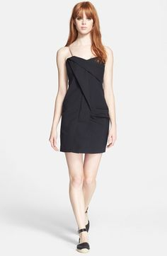 "MARC BY MARC JACOBS Fold Drape Dress available at A twisted, zigzagging fold lends architectural intrigue to a flirty LBD updated with plenty of modern edge. 28"" center back length (size 8). Adjustable straps. Cotton lining. 97% cotton, 3% spandex. Machine wash, dry flat.#Nordstrom"