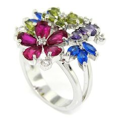 Springtime Bouquet Cocktail Ring w/Olivine, Ruby, Blue and Lavander CZs -- Don't get left behind, see this great  product : Jewelry Ring Statement