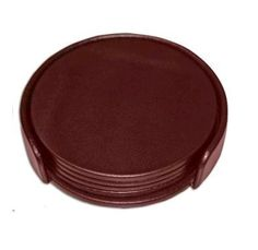 Dark Brown Leatherette Round Coaster Set with Holder by Wood Arts Universe, http://www.amazon.com/dp/B00BOU03XE/ref=cm_sw_r_pi_dp_c95psb0RVANV7