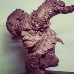 Demon bust, cyril roquelaine on ArtStation at https://www.artstation.com/artwork/a18WJ