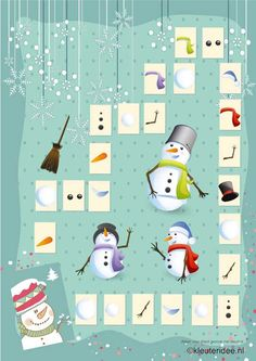 Het super coole sneeuwpop spel A3, kleuteridee.nl , het vakje waar je op komt mag je bij tekenen...wie heeft eerst een sneeuwman getekend?