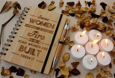 Some women are lost in the fire - Personalized Bamboo Wood notebook for women - Woodgeek Store