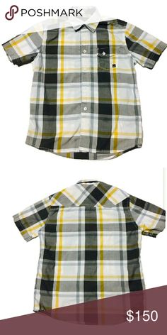 F.O.X Boys Striped Plaid Collar Button Shirt F.O.X Shirt  Condition:pre-owned Size:M Color:Multi-color  Great Condition- Light wash wear  Short Sleeve Button Up Woven Shirt Button patch pocket withlogo Casual button down shirt Fox Shirts & Tops Button Down Shirts