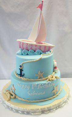 Pink Sailboat Cake Sailboat Cake, Nautical Cake, 14th Birthday Cakes, Bithday Cake, Sea Cakes, Pink Cakes, Retirement Cakes, Dessert Decoration, Decorations