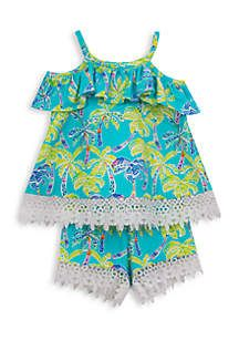Rare Editions 2-Piece Palm Tree Top and Short Set