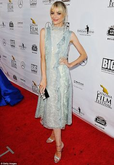 Cool as ice: Actress Jaime King, 37, looked chic and stylish in a baby blue ruffled lace f...
