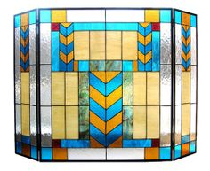 Add style and protection to your fireplace with this colorful Tiffany-style screen. This fireplace screen features a classic Mission design. Stained Glass Fireplace Screen, Stained Glass Door, Fireplace Screens, Stained Glass Designs, Adobe Fireplace, Fireplace Fronts, Metal Fireplace, Leaded Glass, Broken Glass Art