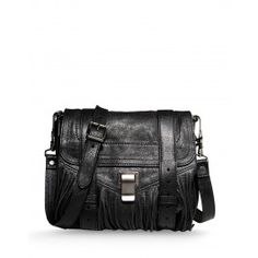 Proenza Schouler Black Leather Fringe PS1 Bag - ShopBAZAAR