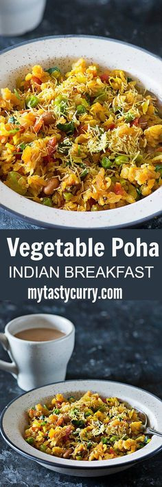 Vegetable Poha is popular and healthy Indian breakfast dish made with flattened rice and lots of vegetables. From as long as I can remember vegetable poha been a comfort breakfast or sometimes just a small portion of poha with evening tea was served as a Vegan Indian Recipes, Veg Recipes, Brunch Recipes, Vegetarian Recipes, Cooking Recipes, Healthy Recipes, Ethnic Recipes, Healthy Indian Food, Healthy Meals