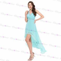 Mint Halter Chiffon Backless Short Prom Dress 2016 on Luulla