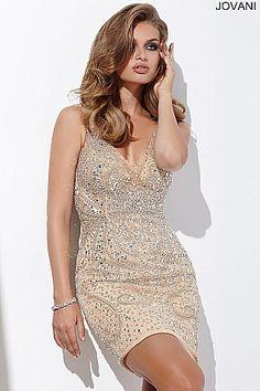Nude Jeweled V Neck Short Dress 27621