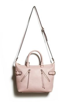 Faux Leather Zipper Satchel - Pink - Forever 21