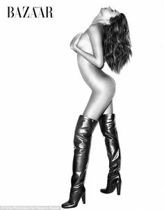 In the buff: Miranda Kerr poses completely nude in a pair of thigh-high leather boots in the new issue of Harper's Bazaar