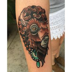 Buffalo Tattoo by Aaron Riddle #Buffalo #BuffaloTattoo #Bison #AmericanTraditional #Traditional #AaronRiddle