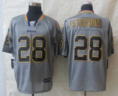 Nike Minnesota Vikings #28 Adrian Peterson Lights Out Gray Elite Jersey