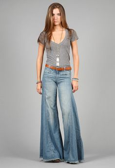 "These used to be called ""Elephant Bells"" --Free People Vintage Chambray Denim Flare in Easy Rider Modest Fashion, Boho Fashion, Fashion Outfits, Womens Fashion, Fashion Trends, Mode Hippie, Hippie Style, Denim Flares, Denim On Denim"
