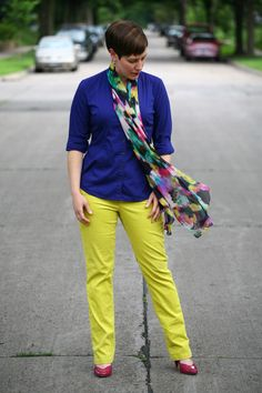 Already Pretty outfit featuring cobalt button-front shirt, neon corduroy pants, pink patent pumps, rhinestone bracelet, onyx earrings
