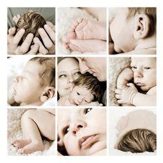 Creative collage highlighting all the wonderful tiny newborn parts