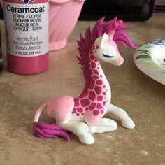 Painting giraffe spots. #acrylics #painting #giraffe #pink #dragonsandbeasties #video