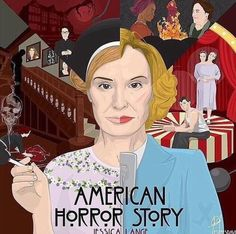 AMERICAN HORROR STORY. The faces of Jessica Lang from all seasons combined. Nice artwork!