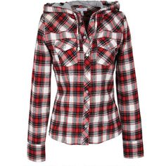 Hooded Plaid Shirt ($40) ❤ liked on Polyvore