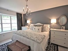 Bedroom, Pretty Floral Rug Combined With White Bedroom Set Also Crystal Chandelier Plus Grey Wall