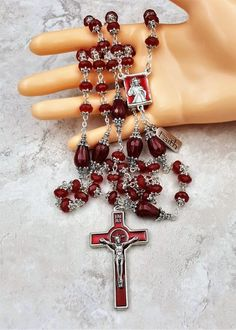 Holy Spirit Confirmation   Happiness Faith   Red Jade Handcrafted Rosary