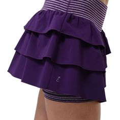 Our Whoop N Holler Skort in twilight is the perfect running skort with our Core Support waistband and our stay-put leg bands keep compression shorts where they belong!  #runningskort #skort #tennisskirt #ruffles #athleticwear #runninggear #lynxsportswear