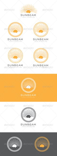 Buy Sunbeam Emblem Logo Set by creativebeat on GraphicRiver. This is a stylish logo set consisting of a one main style sun style logo that has 4 different circular emblem styles . Badge Design, Logo Design Template, Logo Templates, Sun Logo, Yoga Logo, Farm Logo, Travel Logo, Fun Travel, Brand Guide
