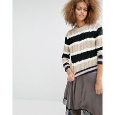 J.O.A Striped Cable Knit Jumper ($89) ❤ liked on Polyvore featuring tops, sweaters, multi, cable crewneck sweater, stripe sweaters, cable knit sweater, striped top and cable knit crew neck sweater