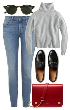 """""""Untitled #5343"""" by rachellouisewilliamson on Polyvore featuring Topshop, J.Crew, Gucci, Mulberry and Ray-Ban"""