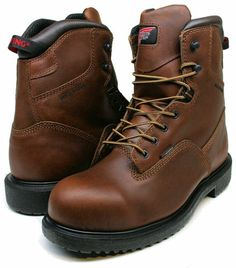 Mens Red Wing  Brown Waterproof Steel Toe Work Boots Shoes Size Comfortable