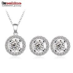 LZESHINE Romantic Round Shape Jewelry Sets Silver Plated Necklaces/ Earrings Engagement Jewelry Sets for Bride CST0003-B