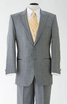 Classic and sharp. We don't want to do a black tux for a rural wedding and grey would fit perfectly with my color scheme!