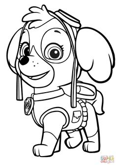 Paw Patrol Coloring Book Printable Pages Skye And 449 X 534 Pixels