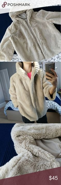 Faux fur jacket Extra soft jacket with hood and 3/4 sleeves. So cozy and comfortable Jackets & Coats