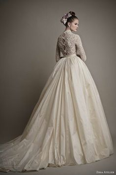 Ersa Atelier wedding dresses_2015 charlotte ball-gown lace bodice-sleeves-back-train