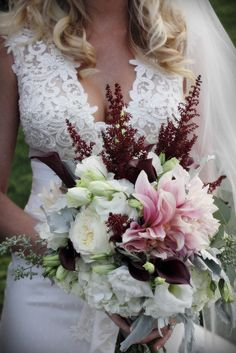Deep burgundy and blush bridal bouquet by White Lotus Event Productions   San Diego  Las Vegas
