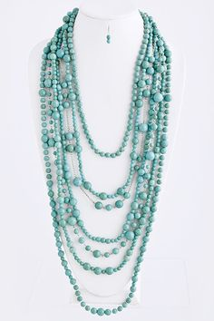 Classic Layered Turquoise Necklace Set - general idea