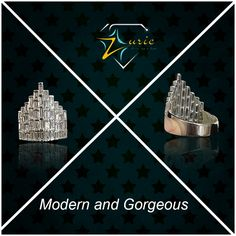 Middle finger ring adorned with Big Baguettes in 18KT White Gold comes in unquie crown shape and creates a mesmerising look diamond ring Available only at Zurie . #pretty #glamorous #crownstyle #fashionable #zurie ZURIE's photo.