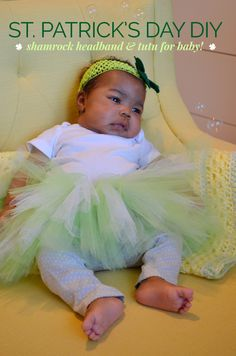 St. Patrick's Day DIY craft: Shamrock Headband and Tutu for Baby