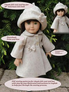 ~~~~Welcome to our PDF Patterns Shop. ~~~~~ I watermark most of photographs and pattern instructions with logo name. This pattern is designed especially for the 18 American Girl Doll and is guaranteed to fit. Enjoy sewing 2 sweet projects, including a classic style felt coat and felt hat